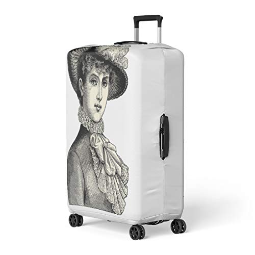 Pinbeam Luggage Cover Elegant Lady Vintage Engraved La Mode Illustree Travel Suitcase Cover Protector Baggage Case Fits 22-24 inches