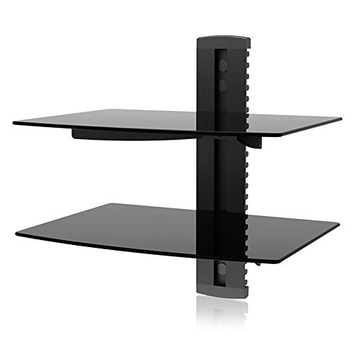 Docooler Floating Shelf with Strengthened Tempered Glass Wall Mount Bracket for TV Component Cable DVR DVD Player Games Consoles