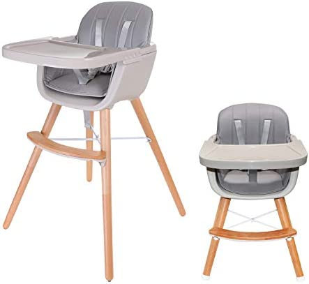 Asunflower Wooden High Chair for Toddler/Infant/Baby 3 in 1 Convertible Modern Highchair Solution - Grey