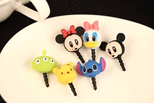 ZOEAST Silicone Rubber Cartoon Stitch Donald Duck Daisy 3 Eyes Alien Mickey Minnie Winnie Pooh Bear Panda Dust Plug 3.5mm Smart Cell Mobile Phone Plug Headphone Jack Earphone Cap Ear Cap Dustproof Plug Charm iPhone Plug Charm for iPhone 4 4S 5 5S 6 HTC Samsung Ipad 2 3 4 Mini Ipod Blackberry Sony Nokia etc (7pcs with 7 Patterns) (Stitch Phone Charm)