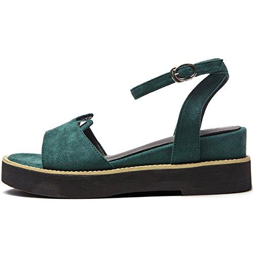 SOHOEOS Sandalias para mujer joven estudiante nuevo señoras plataforma alta Mule cuña sandalias para Mujer Señoras Green