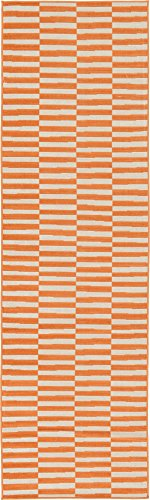 Unique Loom Tribeca Collection Orange 3 x 10 Runner Area Rug (2' 9