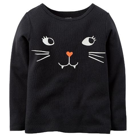 Carter's Baby Girls' Long-sleeve Halloween Tee (9 Months, Black Kitty) (Girls Halloween Shirts)