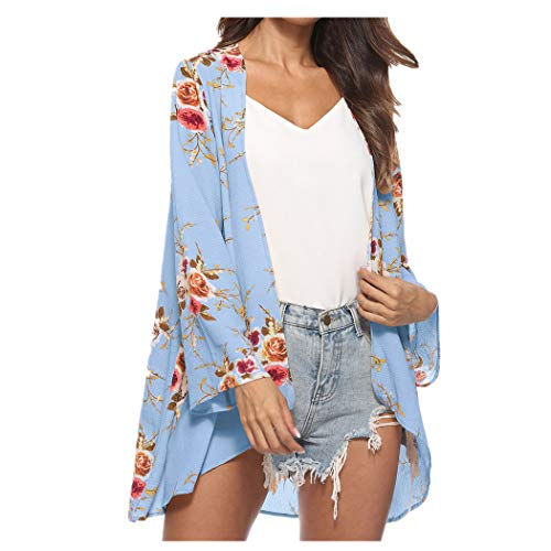 CUCUHAM Women Floral Cover Casual Blouse Tops Loose Kimono Cardigan Capes(Z5-Blue,Small) -