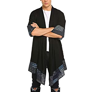 COOFANDY Men's Cardigan Lightweight Cotton Sweater Kimono Style Cloak Open Front Cape
