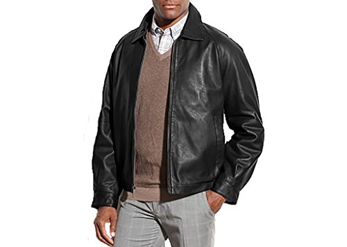 Nautica Men's Lambskin Leather Bomber Jacket, Black, Large (A2 Jacket)