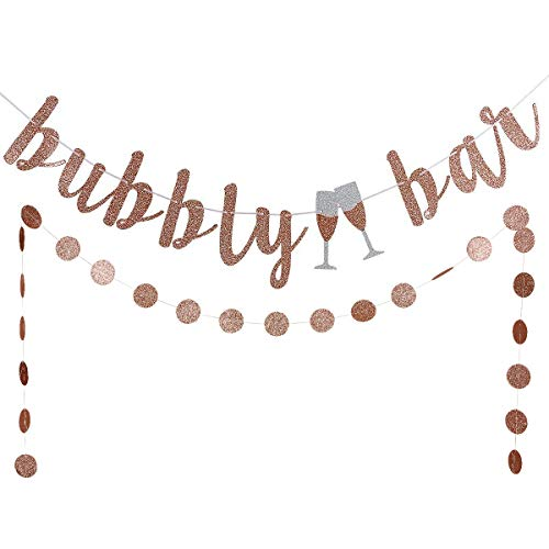 Rose Gold Glittery Bubbly Bar Banner and Rose Gold Glittery Cicle Dots Garland -Bachelorette Bridal Shower Engagement Wedding Party Decorations -