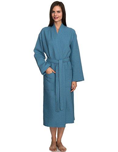 TowelSelections Women's Robe, Kimono Waffle Spa Bathrobe X-Small/Small Niagara Blue