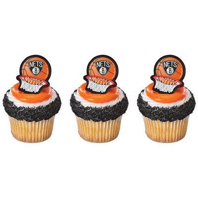 12 NY NETS BROOKLYN new york BASKETBALL rings CUPCAKE toppers PARTY favors CAKE decor FAN