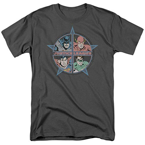 Popfunk Justice League Superman Batman Flash Retro T Shirt & Stickers (X-Large) Charcoal
