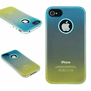 PEACH TPU+PC Two in One Blue/Yellow Gradient Back Cover Case for iPhone 4/4S
