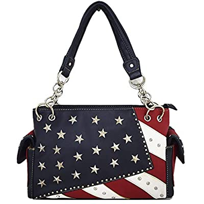 American Flag Stars and Stripes Rhinestone Women Leather Handbag Country Purses Wallet Set Red White Blue
