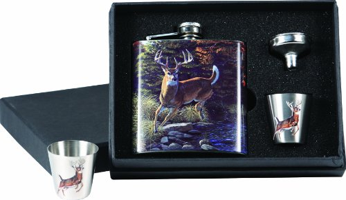 (River's Edge Deer Design Stainless Steel Flask with Loading Funnel and Shot Glass)