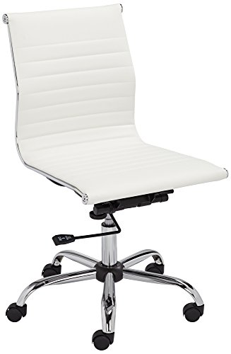 Ribbed Base Floor Lamp - Kammie White Faux Leather Adjustable Office Chair