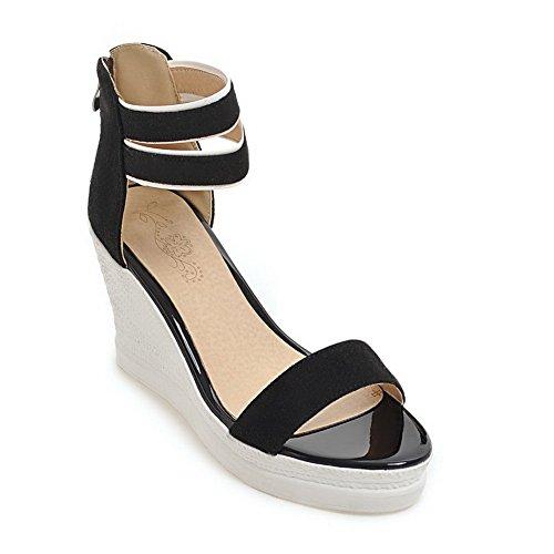 BalaMasa Womens Sandals Peep-Toe Huarache Cushioning Urethane Sandals ASL04469 Black GZtbsn