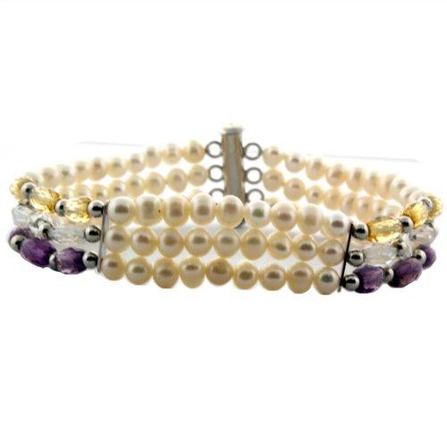 Sterling Silver 3 Strand Multi-gemstone Freshwater Cultured Pearl 7 1/2 Inch (Topaz Multi Strand Bracelet)