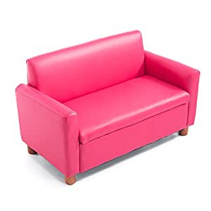 "Qaba 33"" Kids PU Leather Storage Sofa - Pink"