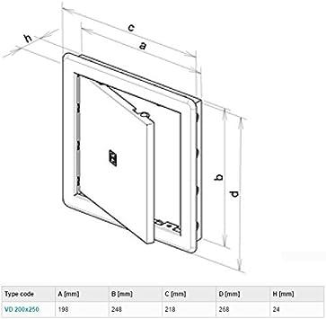 Panel de acceso, puerta de revisión, para apertura de 200 x 250 mm: Amazon.es: Hogar
