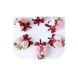 meiguiyuan White Wedding Boutonniere Handmade Wrist Flowers Blue Corsages Silk Hydrangea Rose Bridesmaid Decor Pins Wrist Flower New 35
