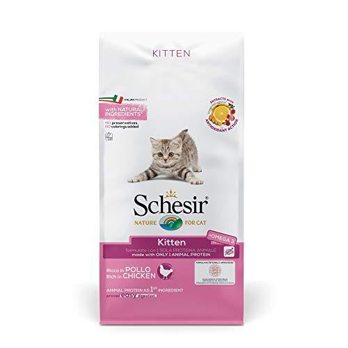 Schesir Cat Kitten Katzenfutter trocken hypoallergen für junge Kätzchen mit Bio Huhn / Huhn, reich an Proteinen…