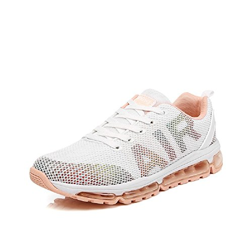 Monrinda WoMen Lightweight Air Cushion Sport Shoes Mesh Breathable Shock Absorbing Trainers for Multi Sport Athletic Jogging Fitness Outdoor Sneakers for Ladies/Girls White