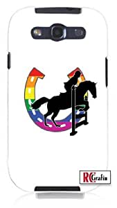 Gay Pride Rainbow GLBT Horse Equestrian Jumper Unique Quality Soft Rubber TPU Case for Samsung Galaxy S3 SIII i9300 - White Case