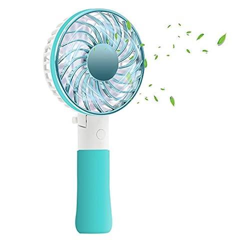 Antye Portable Mini Handheld Fan, Rechargeable Battery Operated Personal Cooling Fan for Home, Outdoor, Travel, Office - - Blue Little Fan