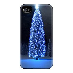 Iphone 4/4s Hard Back With Bumper Silicone Gel Tpu Case Cover Christmas Tree