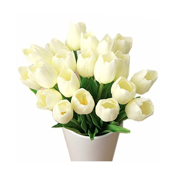 Bringsine Premium Artificial Flowers Real Touch Mini PU Tulips Bouquet Artificial Plants for Wedding Room Home Hotel Party Event Christmas Decor Multi Colors Available (Set of 30, Cream White)