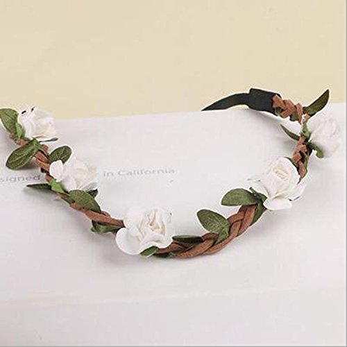 A&C Fashion Flower Headband Suitable for Girl and Women, Sandy Beach Headpieces Suitable for Party, Wedding, Travel and Casual. (White) supplier