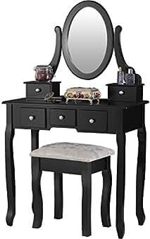 Mecor Dressing Table, Vanity Sets Mirror Bench, Girls Makeup Vanity 5  Drawers Black