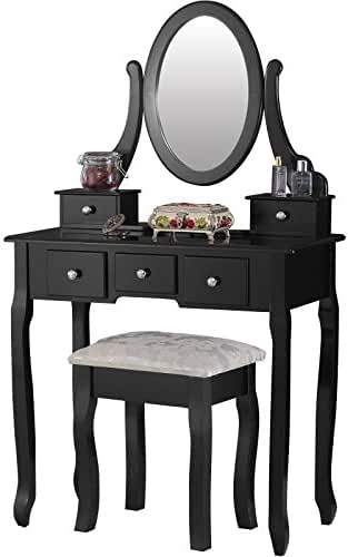 Amazon black vanities vanity benches bedroom furniture mecor dressing table vanity sets with mirror and bench girls makeup vanity with 5 aloadofball Images
