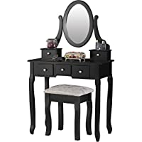 Mecor Dressing Table, Vanity Sets Mirror Bench, Girls Makeup Vanity 5 Drawers Black