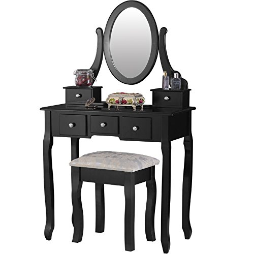 Mecor Vanity Table Set with Oval Mirror Makeup Dressing Table 5 Drawers and Cushioned - Bench Stool Set