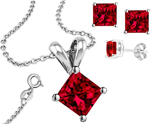 925 Cut Synthetic Ruby Cubic Zirconia Pendant and Earrings Set 1 Ct Each Stone 2 Ctw Earrings