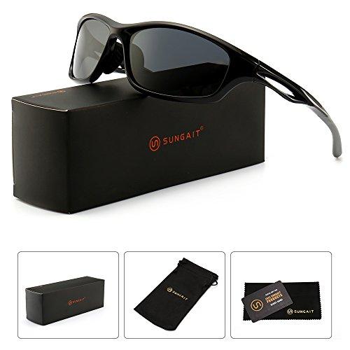 SUNGAIT Superlight Polarized Sports Sunglasses for Men Women Running Cycling Fishing Baseball Golf Driving (Black Frame (Glossy Finish)/Grey Lens, 64) Plastic Frame 8848 LHKHU by SUNGAIT