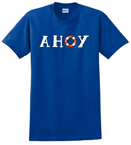 Funny Nautical Gift Ahoy Life Ring Nautical Boating Sailing T-Shirt Large Royal (Ahoy Tee)