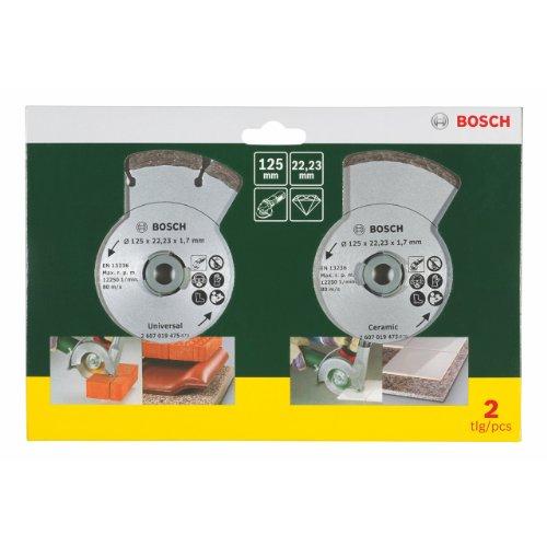 Bosch 2 Diamanttrennscheiben für Fliesen und Baumaterial, Ø 125 mm, 2607019484