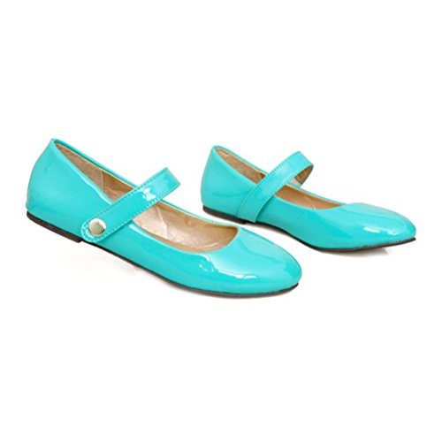 Agodor Women's Flats Mary Janes Patent Leather Work Shoes With Velcro Casual Ballet Flats Shoes Green MMTWdOf
