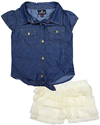 dollhouse Girls' 2-Piece Summer Denim Top and Lace Short Set, Dark Solid, Size 10/12'