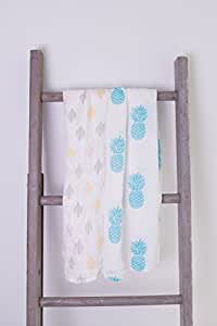 Softest bamboo muslin baby swaddle blankets - 2 Pack Pineapple and Leaf
