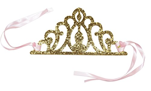 Birthday Party Decoration Princess Crowns Tie Back, Pink and Gold Perfect for Party Favors - Tiana Costume Diy