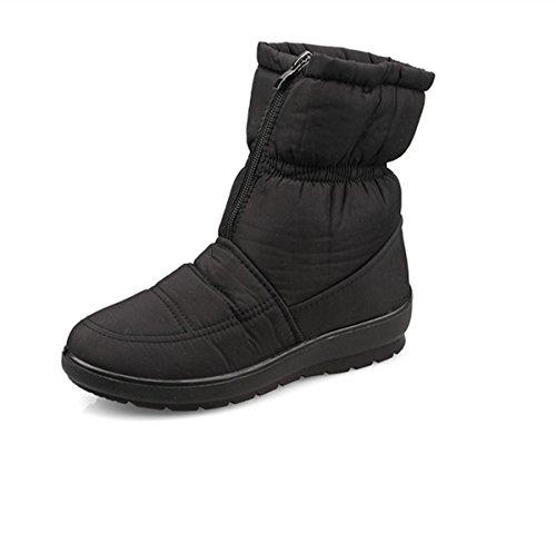De Nuevo Señoras A Algodón Prueba Más Nieve Fondo Confort Boots Zapatos Cachemira Aire Libre Black Grueso Al Antideslizante Snow Calzado Tela Impermeable Invierno Otoño Trabajo ErqzrZ