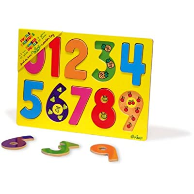 Vilac 2424 - Jeux et Jouets en Bois - Encastrement chiffres (10 pièces)