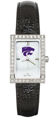 Kansas State Wildcats KSU NCAA Allure Ladies Watch With Black Leader Strap by Logo Art
