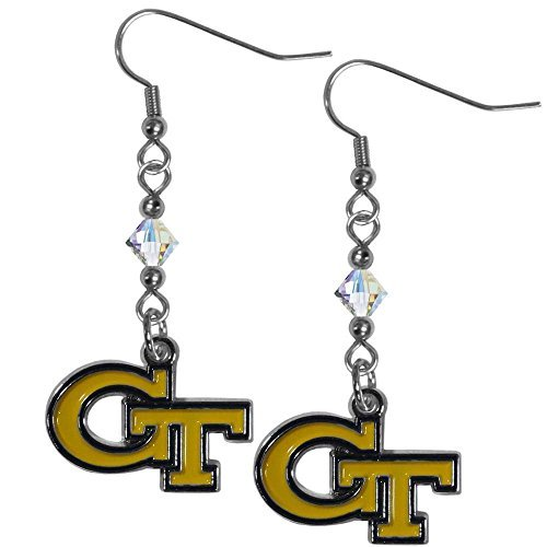 - Siskiyou NCAA Georgia Tech Crystal Dangle Earrings, White