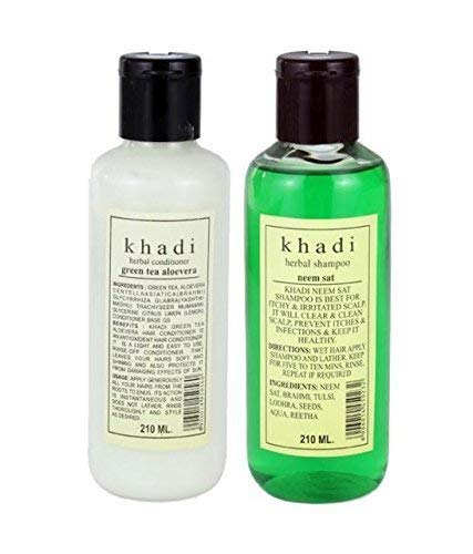Khadi Swati Green Tea Aloevera Conditioner And Neem Shampoo Hair Care Combo (210 Ml Each)