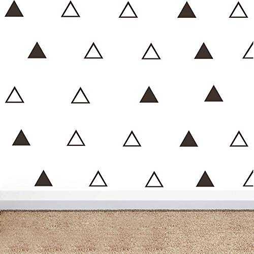 - 64pcs/Set Modern Vinyl Triangles Wall Decal Solid/Outline Triangles Pattern Wall Sticker DIY Home Decor Kids/Children Room Decor Stickers YYU-18 (Black)