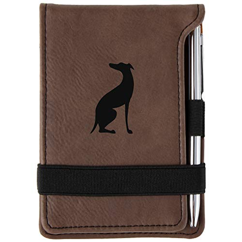 Italian Greyhound Engraved Leather Personalized Mini Notepad With Pen ()
