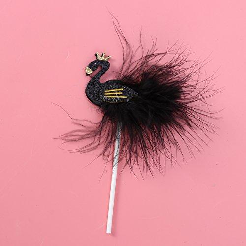 TOYMYTOY 10PCS Swan Cake Topper Cupcake Picks Dessert Cake Sticks for Wedding Birthday Party Decor (Black) by TOYMYTOY (Image #2)